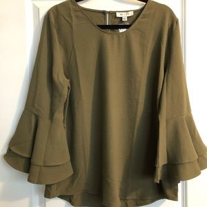 Bell Sleeve, Olive Green Blouse